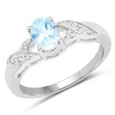 925 Sterling Silver Engagement Wedding Ring 0.99 Ct Genuine Blue Topaz & Diamond