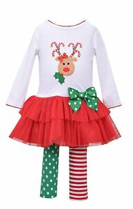 Bonnie Jean Baby Girls Christmas Santa Reindeer Tutu Legging Set 0-3-6-9 Months