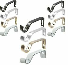 2 Pcs Metal Curtain Pole Holder Brackets S Hooks Silver Brass Black Copper White