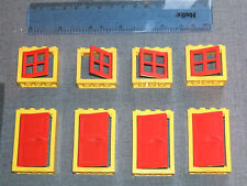 LEGO 8 Large Windows and Doors with frames and Shutters - Yellow and Red