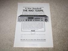 NAD 7220PE Receiver Ad, 1987, 1 pg, Info, Rare Ad!
