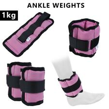 4Fit™ Adjustable Ankle Weights Pair 1 Kg Wrist Arm Leg Running Exercise pink