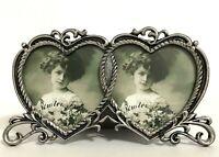 Vintage 2 Photo Double Heart Mini Picture Frame Pewter ~ Linco ~ ROC