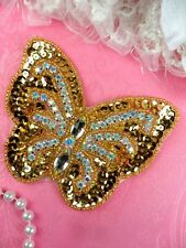 "Rhinestone Applique Crystal AB Butterfly Gold Beaded Sewing Patch 4.25"" (JB119)"