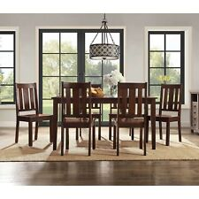 7 Piece Dining Set Home Furniture Table 6 Chairs Classic Style Mocha Solid Wood