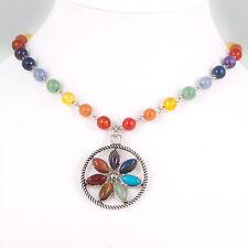 7 Chakra Gemstone Chain Necklace, Reiki, Healing, FLOWER Pendant, Silver Tone