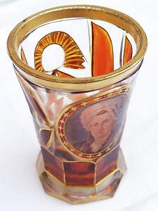 19th Century Spa Glass w/ Maria Theresa Portrait w/ 1835 Coin in Base   RARE