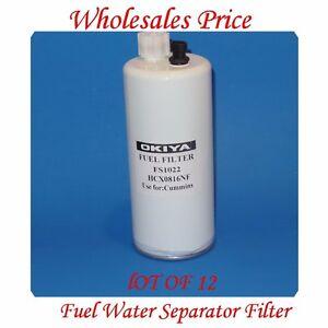 12 x FS1022 Fuel Water Separator Filter For Cummins Case Freighliner Peterbilt