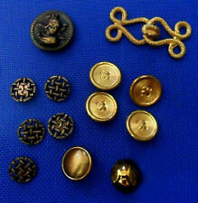 Lot 14 Vintage Metallic Gold BUTTONS + Gold Brandenburgs Chiseled, Relief, Head