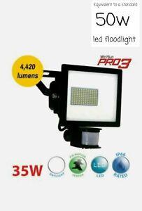 35W Pro3 LED Floodlight with PIR, 4420lm, 6000K - MINISUN Equivalent to 50w