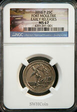 2016-P 25C Fort Moultrie NP - NGC MS67 - America the Beautiful Quarter - ER