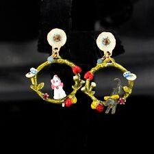 Boucles d'Oreilles Clous Doré Anneau Chat Chien Papillon Email Rouge Blanc L2