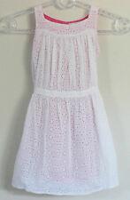 LUCY SYKES Size 3-4 Years White Lace Eyelet with Pink Lining Sleeveless Dress