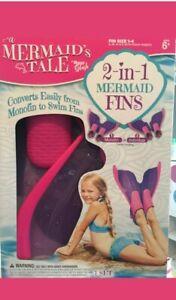 Mermaid Tale Fins Set Pink Purple Mono Or Individual Use Pool Fun Ages 6+