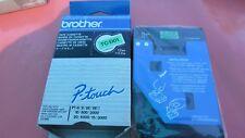 1x Brother tc-d01 P-Touch 12 mm Fluorescent Black/Green pour pt-6/8/10/500