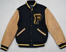 Polo Ralph Lauren Wool Blend Leather Patch Navy Letterman Varsity Jacket XL $798