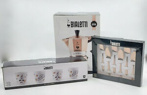 * WOW! BIALETTI LIMITED EDITION ROSE GOLD ESPRESSO SET WITH CUPS AND SPOONS *