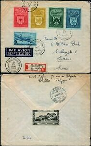 M450 Belgium registered cover fieldpost St Gilles Lucerne 1946 + cinderella