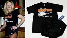 Hooters Uniform Halloween Costume S New York Top Silky Shorts Socks Nametag Hose