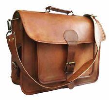 Men's Vintage Genuine Leather Satchel Shoulder Laptop Messenger Briefcase Bag