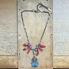 Hamsa Pendant Necklace Vintage Red Coral Turquoise Spiritual Jewelry