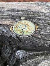 Ananda Khalsa Sundance Catalog SS 22k Gold Fall Tree Watercolor Pendant