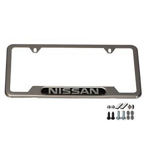 Nissan License Plate Frame With Valve Stem Caps Set Fits Most Models OEM NEW