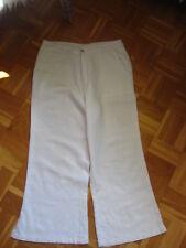 luftige Sommerhose weiß 7/8-Länge mit Weißstickerei Gr. 38/40 Viskose/Leinen