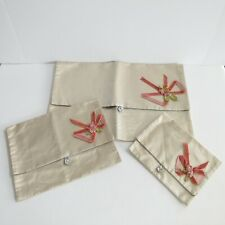 Set of 3 Vintage Satin Silk Hosiery Lingerie Bags Flowers Bows Buttons 1949