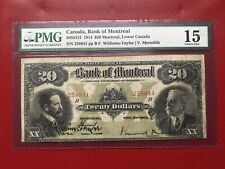 RARE 1914 BANK OF MONTREAL $20 BANKNOTE PMG F15
