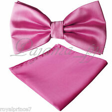 French Rose Pink Butterfly Bowtie And Handkerchief Set Wedding Prom BT100BBB