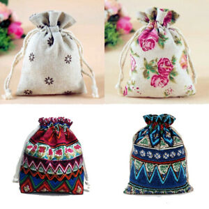 Fabric Jewellery Gift Bags Drawstring Pouch Cotton Linen TWO SIZES