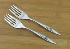 """2 Two Oneida Lasting Rose Salad Forks Fork Deluxe 6 1/4"""" VGC Glossy Stainless"""