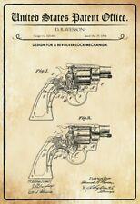 US Patent Revolver Verschluss Breech 1894 Blechschild Schild Tin Sign 20 x 30 cm