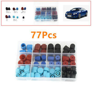 77Pcs Car Repair A/C R134A R12 High Low Side Valve Core Port Dust Cap H2P5 Kit