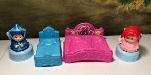 Fisher Price Little People Princess Castle beds chairs Ariel Fairy Godmother lot