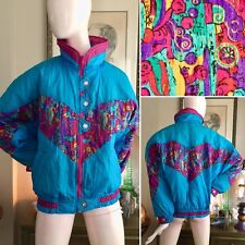 VTG 90s MISTY VALLEY Ski Puffer Jacket Winter Coat NEW WAVE CLUB KID Neon Sz M