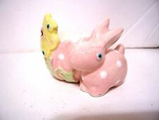 PINK BUNNY YELLOW FLOWER CERAMIC EGG HOLDER EASTER SPRING SUMMER DECORATION