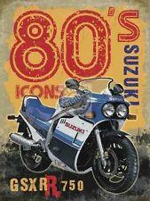 SUZUKI GSXR moto , motard, 80's rétro ancienne, large métal / BOITE ENSEIGNE
