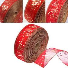 Christmas Gold Red Flower PVC Silk Ribbon Craft Home Xmas Tree Decor 6*200cm