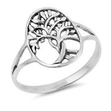Heidnische Style 925 Sterling Silber oval Baum des Lebens Ring