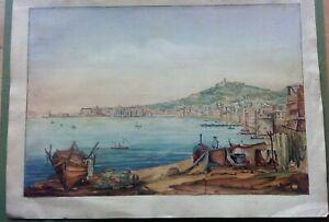 Incisione su rame acquarellata Napoli da spiaggia Carmine A. Vianelli 1850 ca.