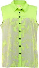 BNWT DKNY Sharp Green Paloma Print Evening Occasion Top Blouse Shirt Size XS