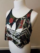Adidas Size 14 Running Vest Tank Top Gym T-Shirt Ladies Womens Crop Yoga Workout