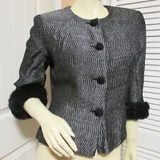 MAGGY LONDON Womens Blazer Jacket Suit Top 8 Silver Black Pattern Faux Fur Trim