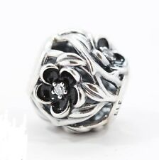 BLACK MYSTIC FLOWER .925 Sterling Silver European Charm Bead FL2
