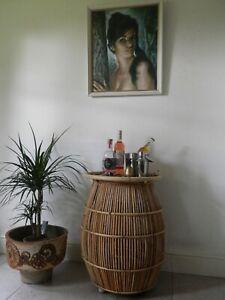Vintage 50s/60s Bamboo Cocktail Bar Tiki Drinks Trolley Barrel Shape on Wheels.