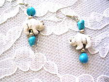 NEW HAND PAINTED CERAMIC 3D WHITE BUFFALO & TURQUOISE NUGGETS DANGLING EARRINGS