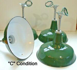 "(1) 30s Benjamin 16"" Porcelain Industrial Green Barn UL Light VTG Gas Station Cs"
