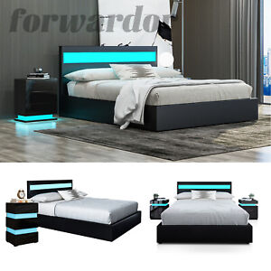 Ottoman Storage Bed with LED Lights 5FT King Size Gas Lift Up Wooden Bed Frame